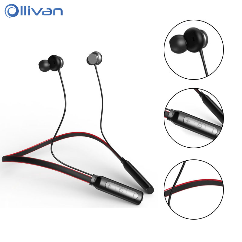 OLLIVAN Neckband Sport Bluetooth Earphone Wireless Bluetooth Headset with Microphone for Phone Wireless Earphones fone de ouvido showkoo stereo headset bluetooth wireless headphones with microphone fone de ouvido sport earphone for women girls auriculares