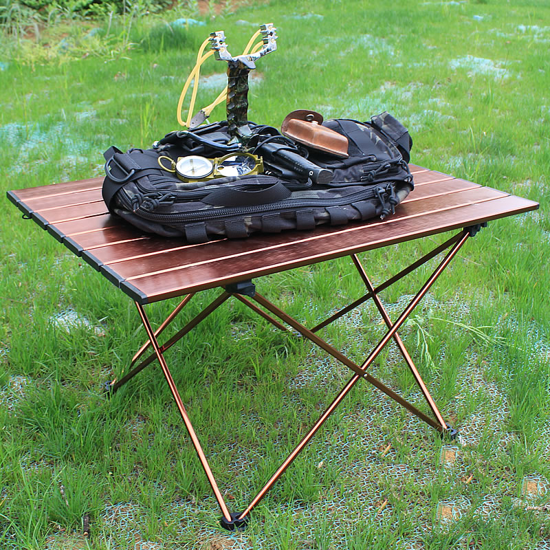 Brown Aluminum Folding Table Camping Chair Camping Table
