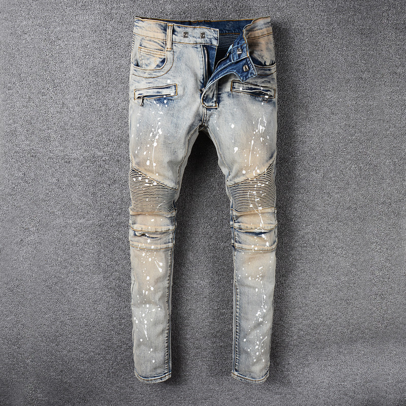 High Street Fashion Men Jeans Retro Washed Paint Designer Slim Fit Spliced Denim Cargo Pants Streetwear Motor Biker Jeans Homme