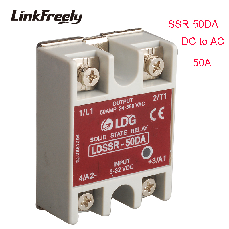 SSR-50DA DC AC Solid State Relay 50A 24V -280VAC Output Input: 3V 3.3V 5V 12V 24V 32V Relay Switch Board SSR 50DA 40DA 10DA tra 23d40m1 5pcs intelligent automation integrated ssr relay 3v 5v 12v 24v dc input din rail solid state relay heat sink 40a