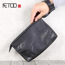 AETOO Leather retro envelope bag, men's portable storage bag