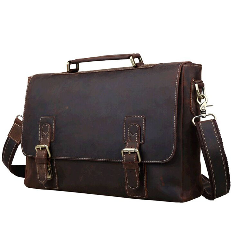 Crazy Horse Genuine Leather Mens Vintage Laptop Briefcase Attache Messenger Tote cowather 2016 crazy horse leather