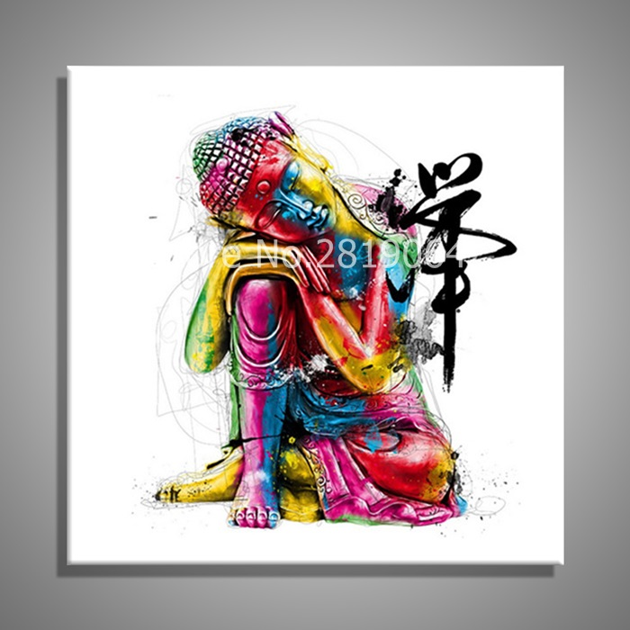 Oil paintings canvas colorful buddha sitting wall art for Art painting for home decoration