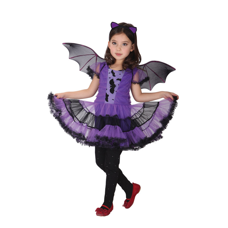 Umorden Halloween Purim Purple Vampire Costume Bat Girl Costumes - Costumi di carnevale