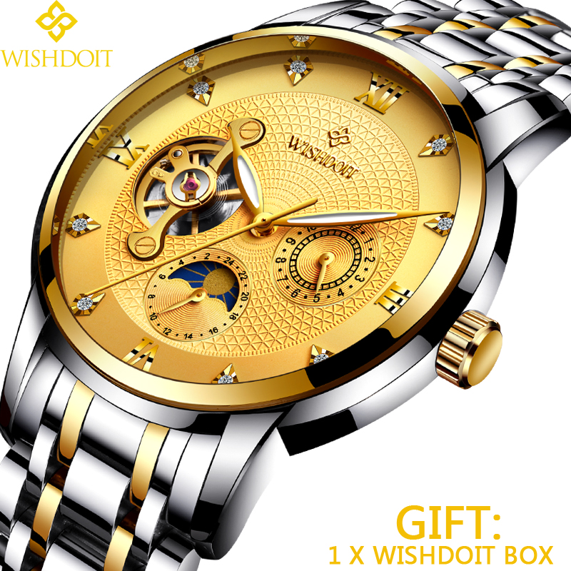 WISHDOIT Men Mechanical Watches Sports Business Waterproof Casual Fashion Steel Men's Watch Military Male Clock Top Luxury Brand men watch top luxury brand lige men s mechanical watches business fashion casual waterproof stainless steel military male clock