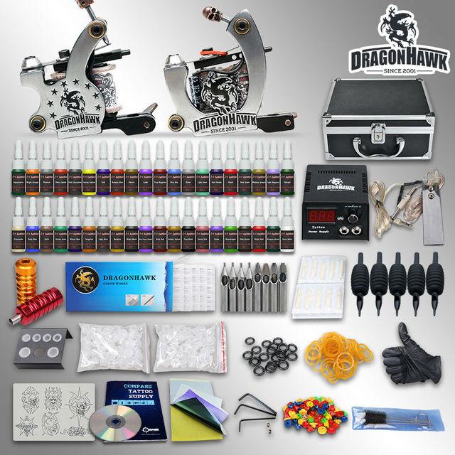 Popular Dragonhawk Tattoo Kit  2 Machine Gun Set  Power Supply 40 Color Ink with case  10-24GD-4