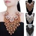 Joyería de moda Cadena de Oro Flor de la Resina Fringe Gargantilla Collar Llamativo Cluster