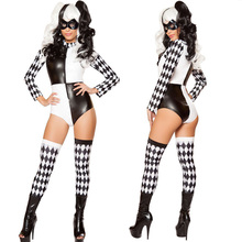 Sexy Funny Circus Clown Costume Harlequin Boduysuit Jumpsuit night club games Adult Halloween Cosplay Clown Cards A3050