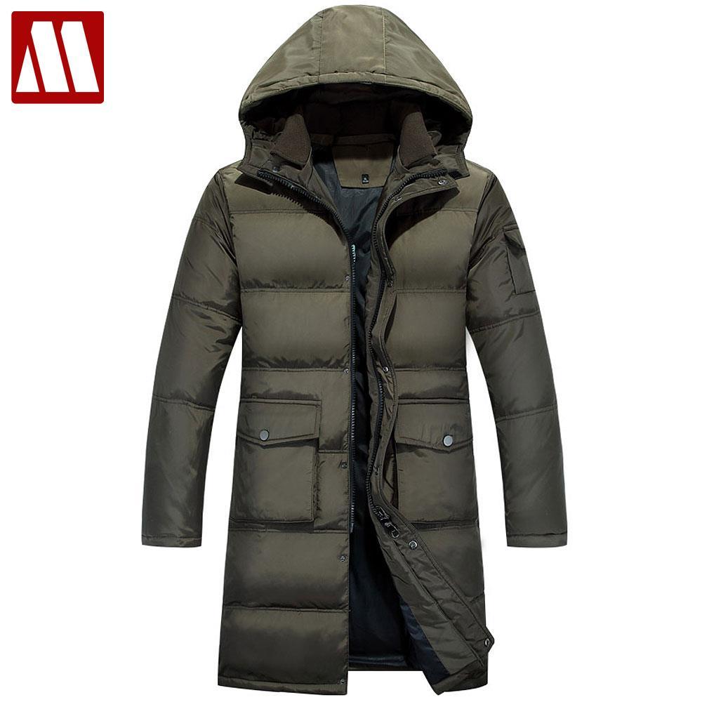 Бесплатная доставка мужской зимний теплый пуховик 90% белый утиный пух куртка Бизнес Мужчины длинное пальто повседневные мужские пуховики
