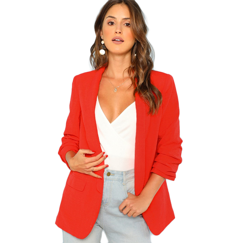 COLROVIE Red Solid Workwear Shawl Collar Women Blazer Feminino 2018 New Ladies Blazer Office Suit Elegant Women Outwear Coat 9