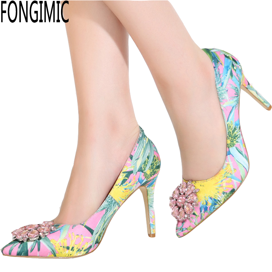 Fashion spring summer women pointed toe thin high heels Party printed all-match rhinestone slip-on pumps high quality shoes new new hot spring summer high quality fashion trend simple classic solid pleated flats casual pointed toe women office boat shoes