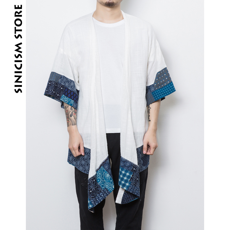 Sinicism Store New Cotton Linen Shirts Men Half Sleeve Shirts Open Stitch Chinese Traditional Clothes HanFu Male Shirt Costume