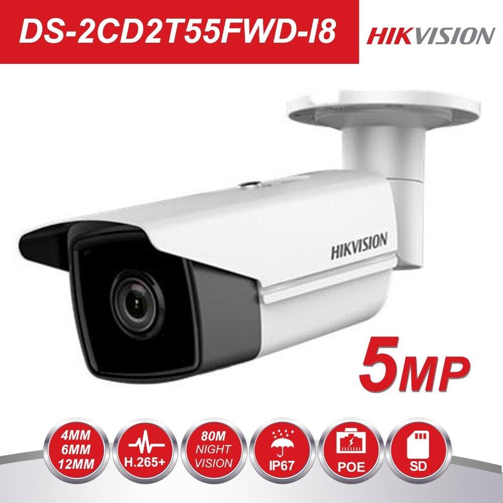 В наличии Hikvision английская версия DS 2CD2T55FWD I8 5MP сети IP пули безопасности Камера POE слот для карты SD 80 м ИК H.265 +