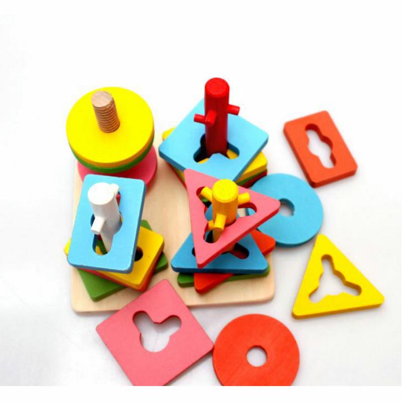 Besplatna dostava Djeca četiri stupca odijelo drveni građevni - Igračke za bebe i malu djecu - Foto 4