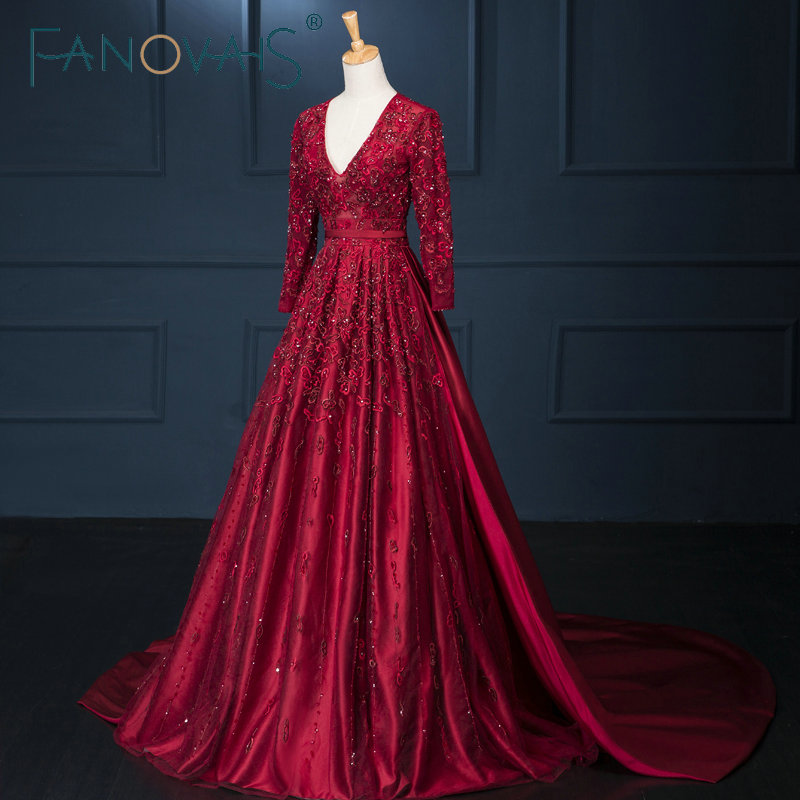 A-line V-neck Long Sleeve Open Back Red Color Satin Embroidery Applique Back See Through Long   Evening     Dress   with Corset