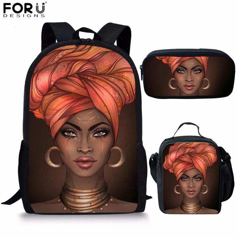FORUDESIGNS sac africain sac à dos d'école pour les filles Art noir filles imprimer enfants sacs d'école adolescent décontracté livre sacs Mochila - 3