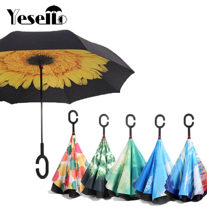 Yesello Inverse Parapluies Pliant Double Couche Inversé C Main Titulaire Stand Pluie Coupe-Vent Roulant Sur Parapluie Pour Les Femmes