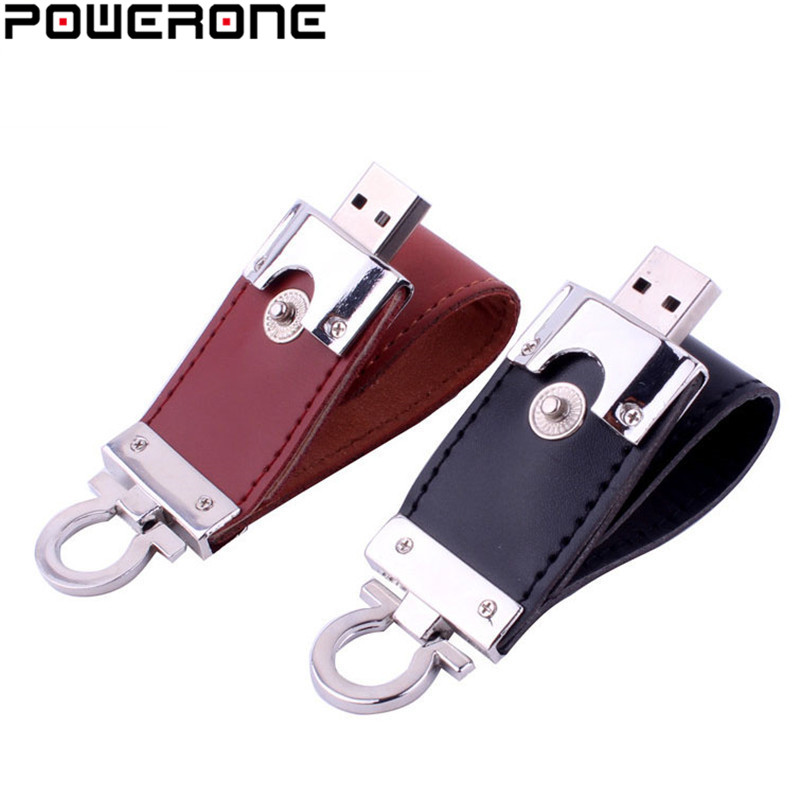 POWERONE metal keychain pendrive 8GB 16GB 32GB 64GB Leather USB Flash Drive Pen Drive Pendriver flash Memory Card memory stick(China)