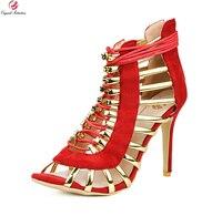 Intenzione originale Super Sexy Donna Sandali Moda Open Toe Sottile Tacchi alti Moda Nero Rosso Scarpe Da Donna Più Il Formato DEGLI STATI UNITI 4-15