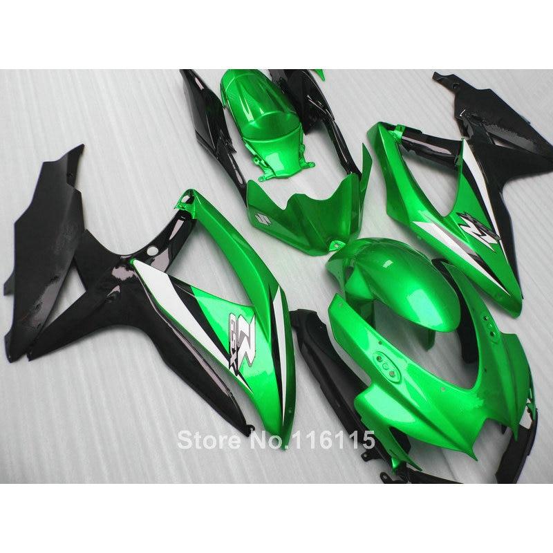 Carénage kit pour SUZUKI K8 K9 GSXR 600 700 2008 2009 2010 GSXR600 GSXR750 08 09 10 vert noir ABS carénages 62-58