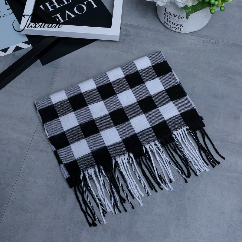Autumn Scarf Shawls Tassel Plaid Male High-Quality Cotton Cachecol Soft Men Fashion 13-Style