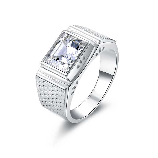 85fcdc645 Luxury Men Ring 3 Ct Lab-Created SONA Synthetic Simulated Diamond Ring for  Men 925