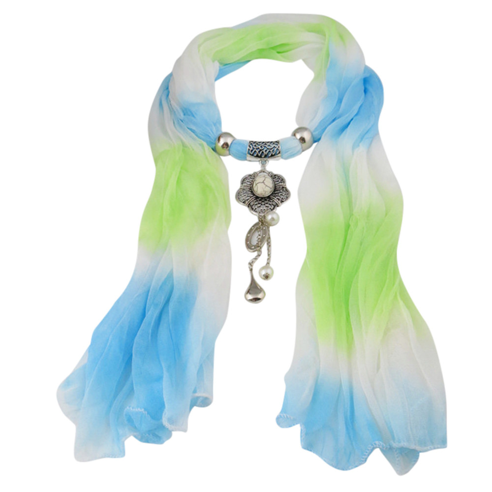 New Style Gradient Necklace Scarf With Alloy Pendant Jewelry Tassel Scarf Shawl Wrap Women Autumn Winter Bufandas Mujer 180*40CM