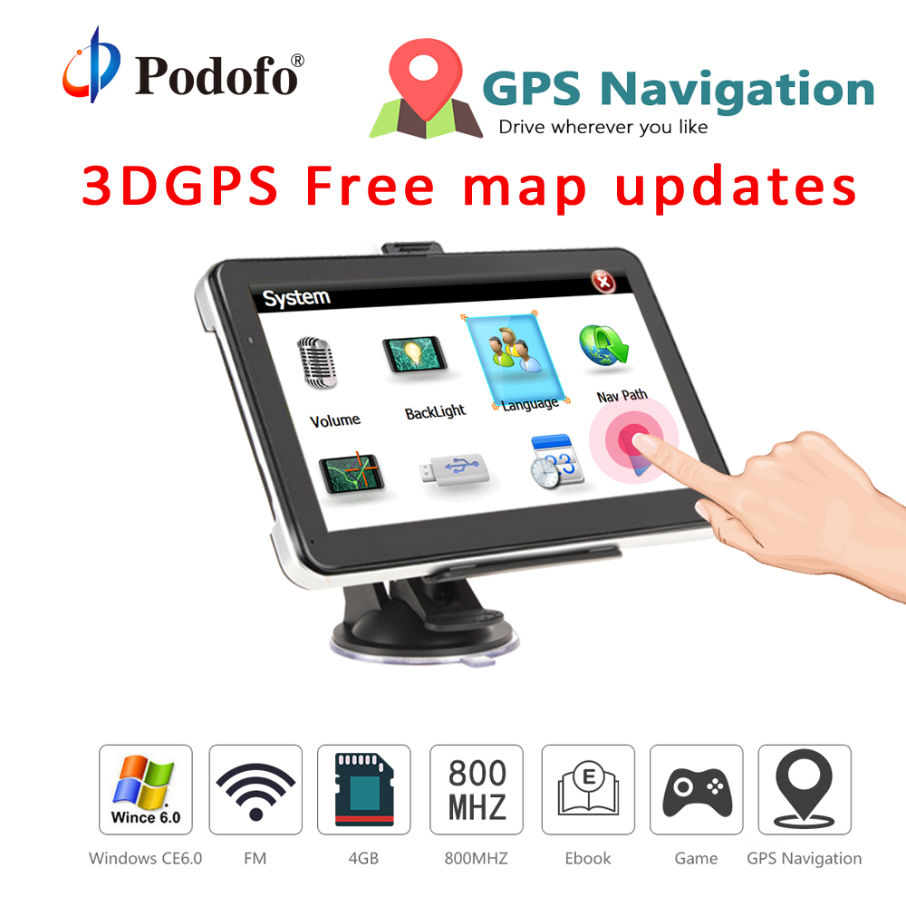 Podofo 7 inch Car GPS Navigation HD Capacitive Screen Win CE Media Capacitive screen FM 8GB Vehicle Truck GPS Car navigator a gauge 7 inch lcd at070tn94 highlight navigation screen screen
