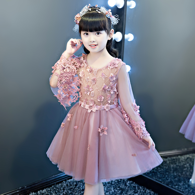 Petal Sleeve Flower Girl Dress Appliques Ball Gown Evening Party Dresses Kids Pageant Gown Princess Dress Communion Gown E275 цена 2017