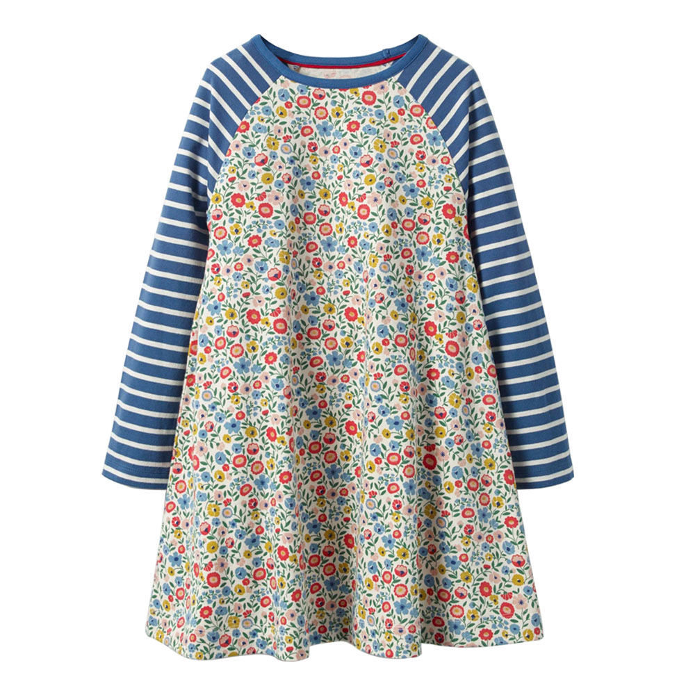 все цены на Littlemandy Girls Dress Flower Long Sleeve Girl Dresses 2018 Autumn Brand Baby Girls Clothes Pattern Printed Princess Hot Sale онлайн