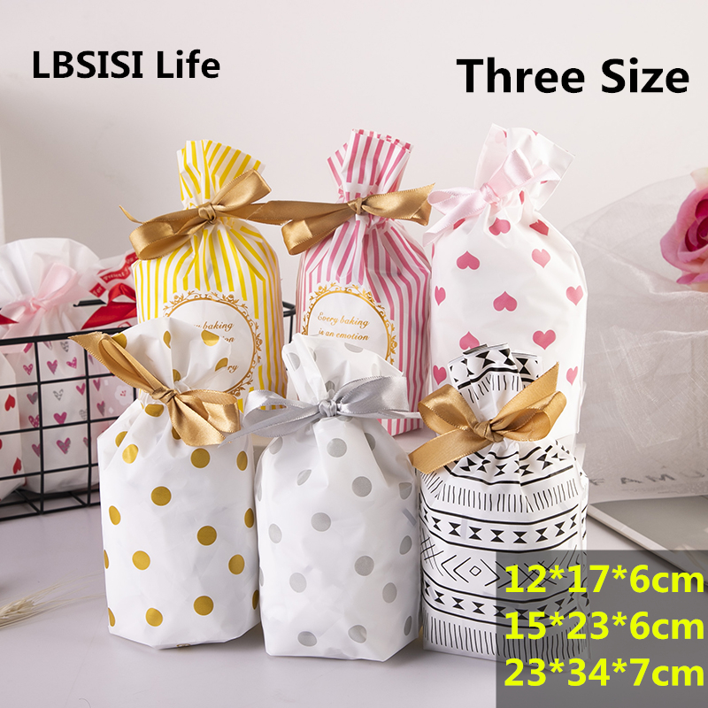 LBSISI Life 50pcs Plastic Candy Cookie Drawstring Bag Treat With Ribbon Snack Candy Birthday Party Wedding Favor Gift Bags
