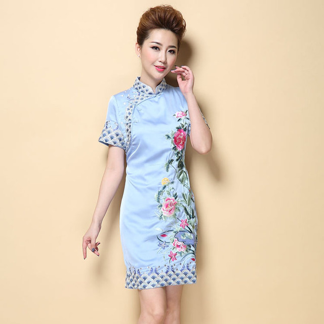 56602881597 Elegant Floral Chinese Women s Modern Cheongsam Dress Handmade Embroidery  Qipao Summer Vintage Casual Dress S M L XL