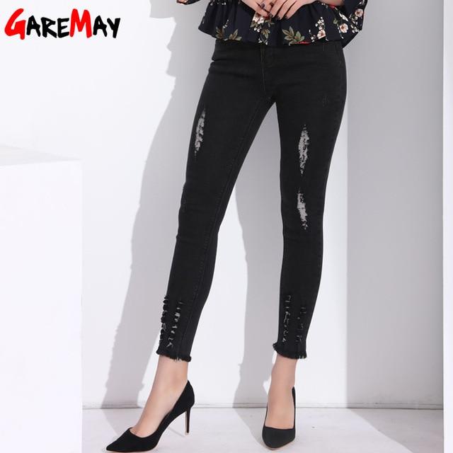 ecf31957e42f GAREMAY Maigre Déchiré Jeans Pour Femmes Cheville Longueur Détruits Femmes  Jeans Taille Haute Rippped Jeans Femme