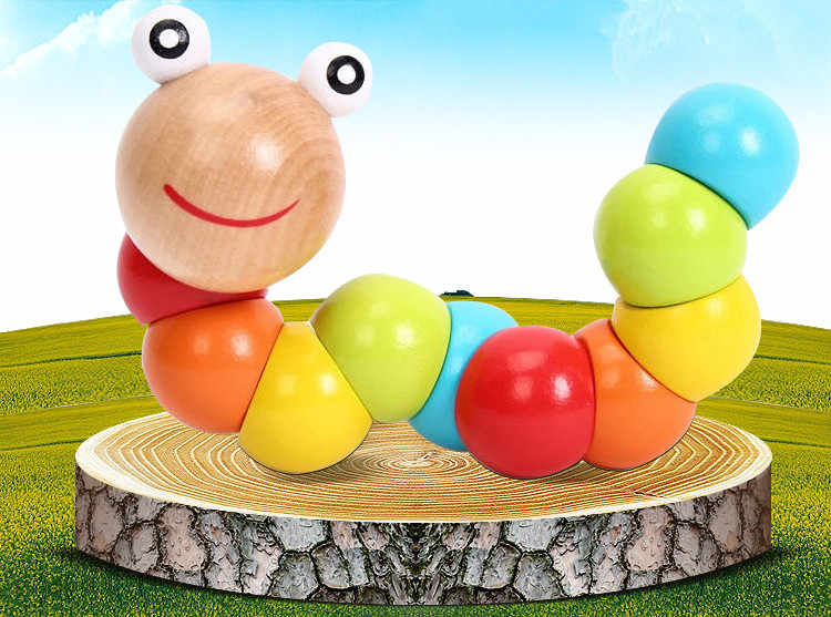 Nowy DIY dla dzieci dla dzieci polerowane Twist gąsienice kolorowe drewniane zabawki niemowląt kreatywny prezent edukacyjny darmowa Drop Shipping hurtownie