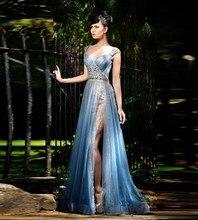 Sexy Long Mermaid Evening Dress 2017 Beaded Rhinestones Vestido De Festa Party Prom Gowns Split Side