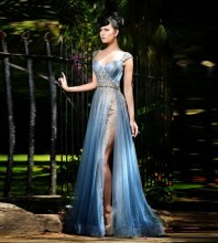 Sexy Long Mermaid Evening Dress 2017 Beaded Rhinestones Vestido De Festa Party Prom Gowns Split Side Formal Dresses