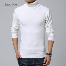 ZhenZhou Solid Slim Fit Pullover Men Gray White Sweater Men Brand 2016 M-XXL Male Turtleneck Men Sweater Pull Homme Marque