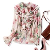 Chiffon print long sleeve single breasted blouse 2018 new ruffles women autumn shirts