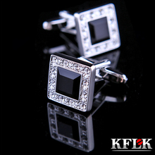 hot deal buy 2 color kflk jewelry shirt cufflinks for mens brand cuff buttons black crystal cuff links high quality abotoaduras free shipping