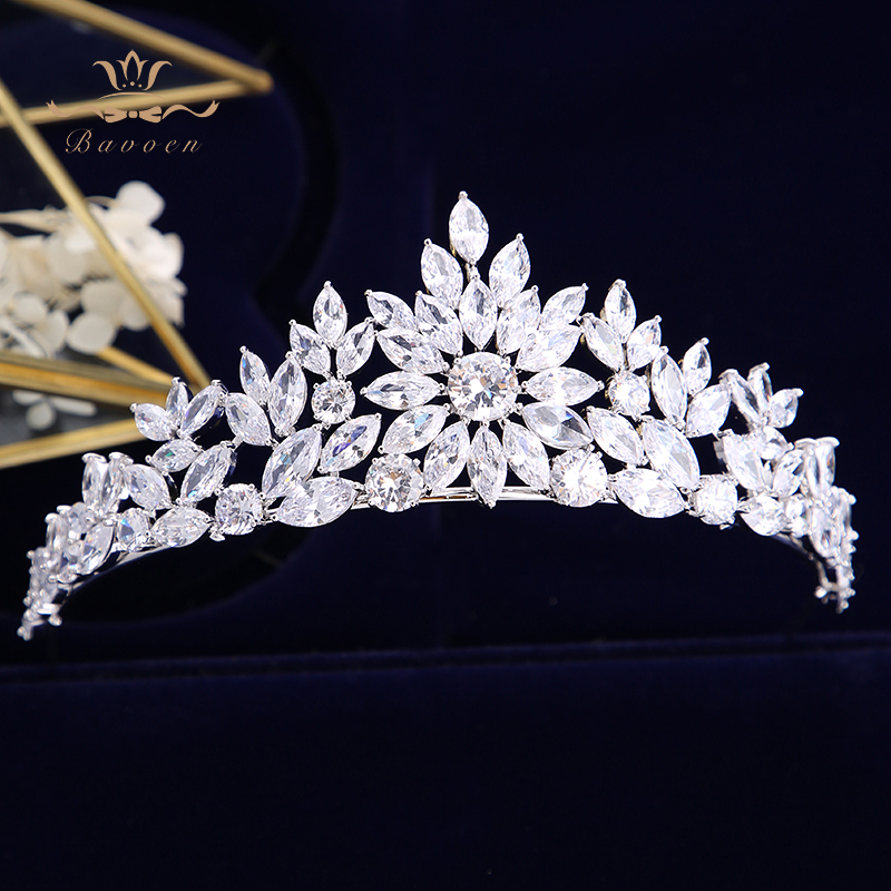 Bavoen Top Quality Silver Brides Crowns Tiaras Zircon Crystal Wedding Hair bands Accessories Evening Hair Jewelry
