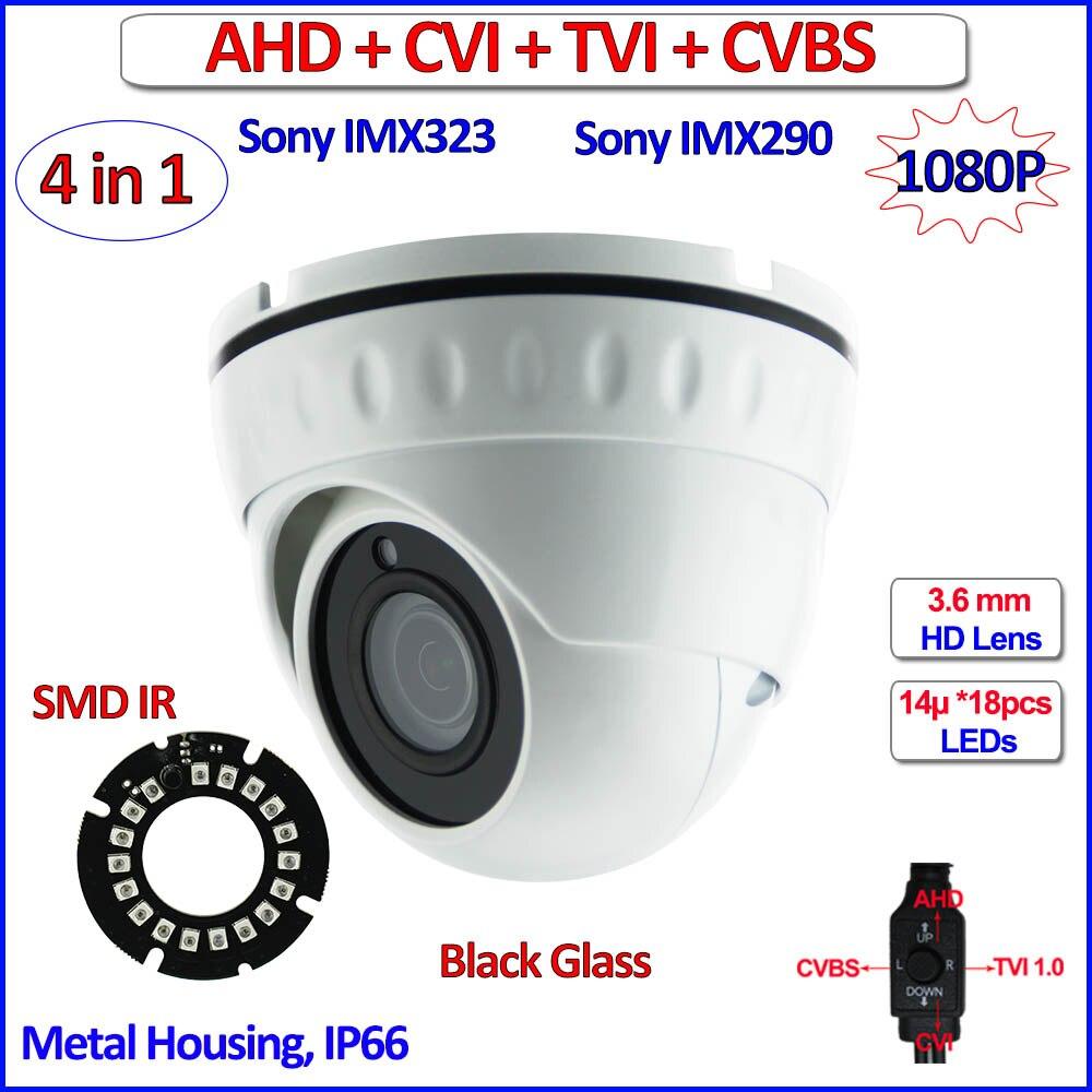 imágenes para 4en1 imx290 CVI TVI AHD cámara domo imx323 Sensor 1080 P 2.0MP cámara de seguridad de vigilancia, SMD Led, 3.6mm de la Lente, CVBS, OSD