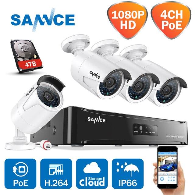 SANNCE HD 1080P CCTV System 4CH POE NVR 2/3/4TB HDD 4PCS 2MP 1080P ...