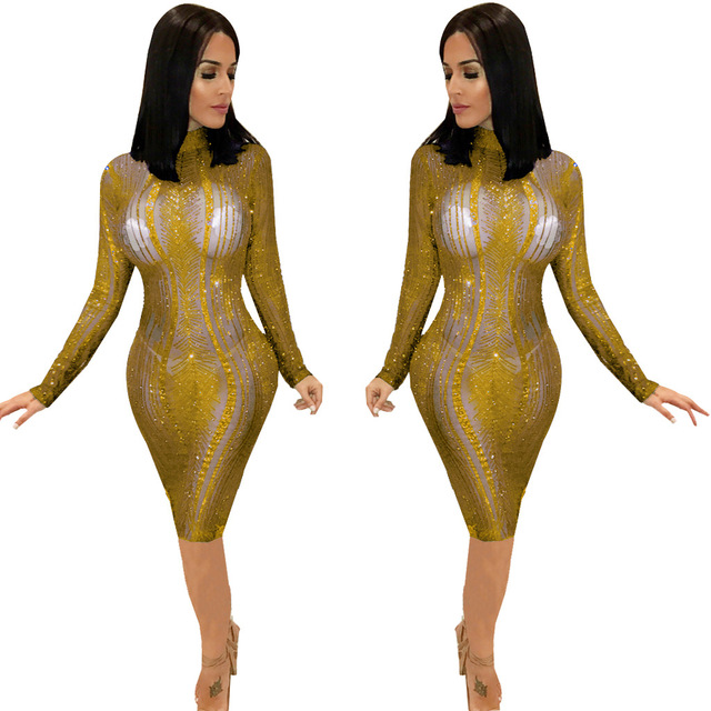 Autumn Women Gold Black Blue Mesh Sexy Long Sleeve High Neck Sequin New  Year Party Dress 5399f7c3304b