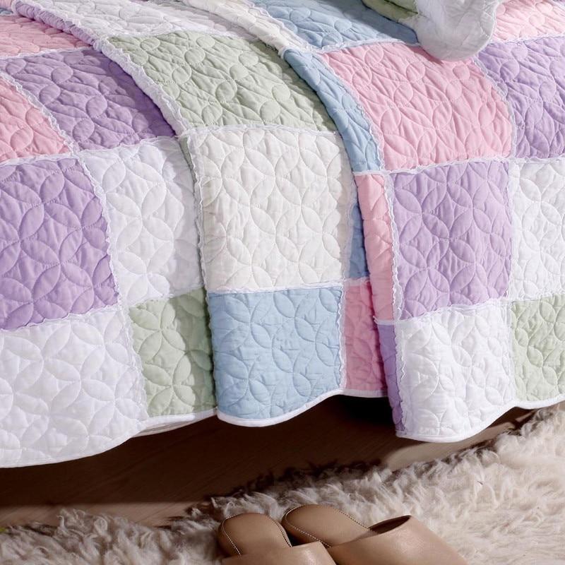 Korean Elegant Bedspread Patchwork/Grids Colchas Cute Coverlet ...