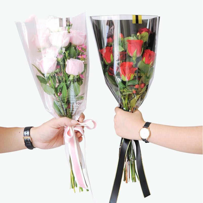 50pcs Single Rose Plastic Package Transparent Flower Bouquet Wrapping Paper Plastic Opp Bag Floral Packaging Bags Party Decor