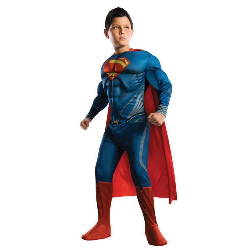 TPRPCO Kids Deluxe Muscle Christmas Superman Costume for children boys kids superhero movie man of steel cosplay N146