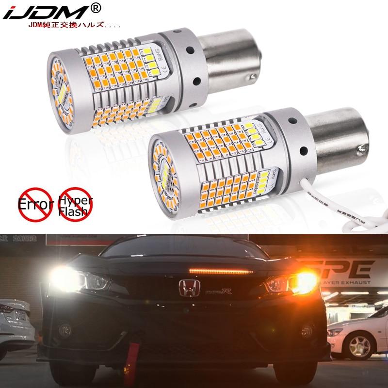 IJDM No Hyper Flash 21W BAU15S LED Canbus BA15S 1156 LED Switchback White/Amber LED Bulbs For Daytime Running/Turn Signal Lights