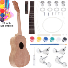 23 Inch Mahogany Ukulele DIY Kit Concert Hawaii Guitar with Rosewood Fingerboard and All Closed Machine цена