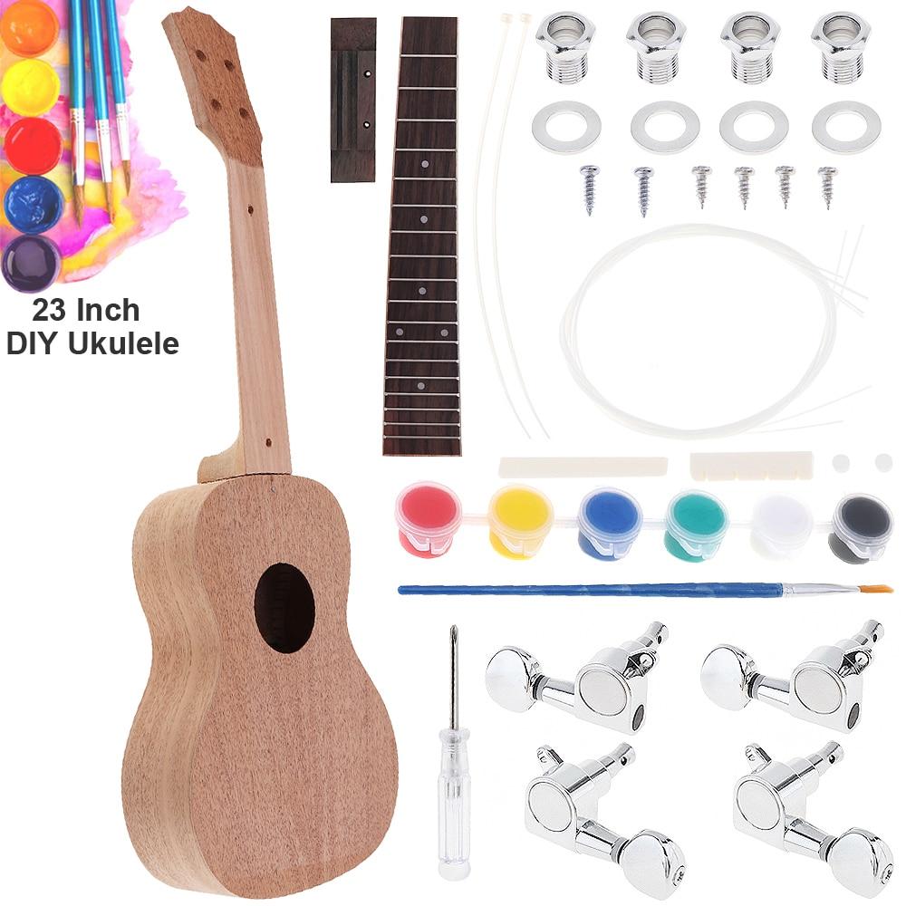 Kit de bricolage ukulélé en acajou 23 pouces Concert guitare Hawaii avec touche en palissandre et Machine fermée