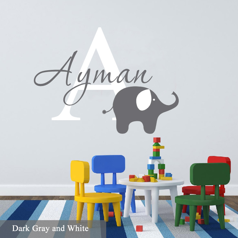 Aliexpress.com : Buy Cute Elephant Nursery Wall Sticker Personalized Name  Initial Art Vinyl Wall Decals Stickers For Boys Kids Rooms Home Decor From  ... Part 59